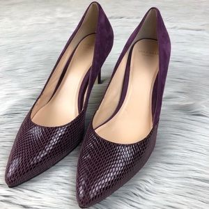 Cole Haan purple suede and snakeskin heels 8